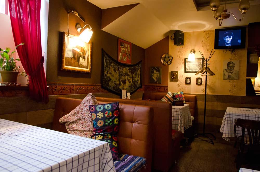 Tables at the Soviet Café Kvartirka in St Petersburg, Russia