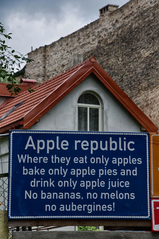 Apple Republic Sign in Užupis, Vilnius, Lithuania