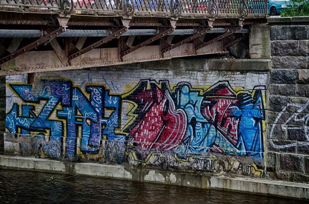 Street Art Under Bridge in Užupis, Vilnius, Lithuania