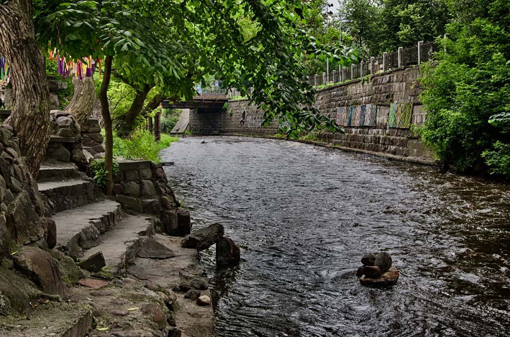 The Vilnia River Through Užupis, Vilnius, Lithuania
