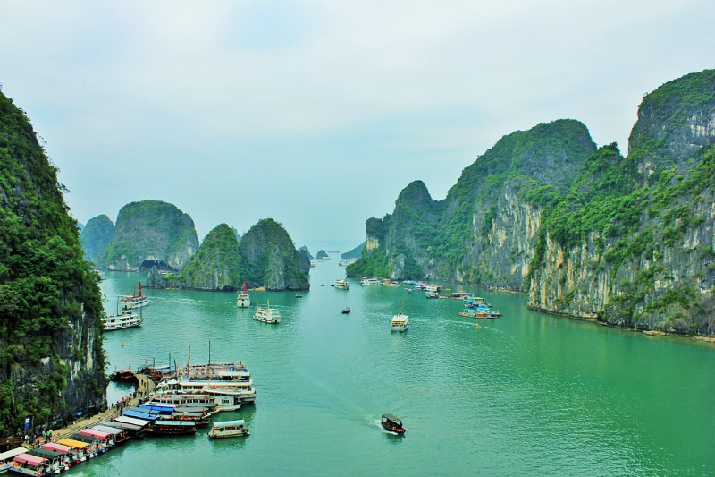 The limestone karsts of Halong Bay - Charlie on Travel