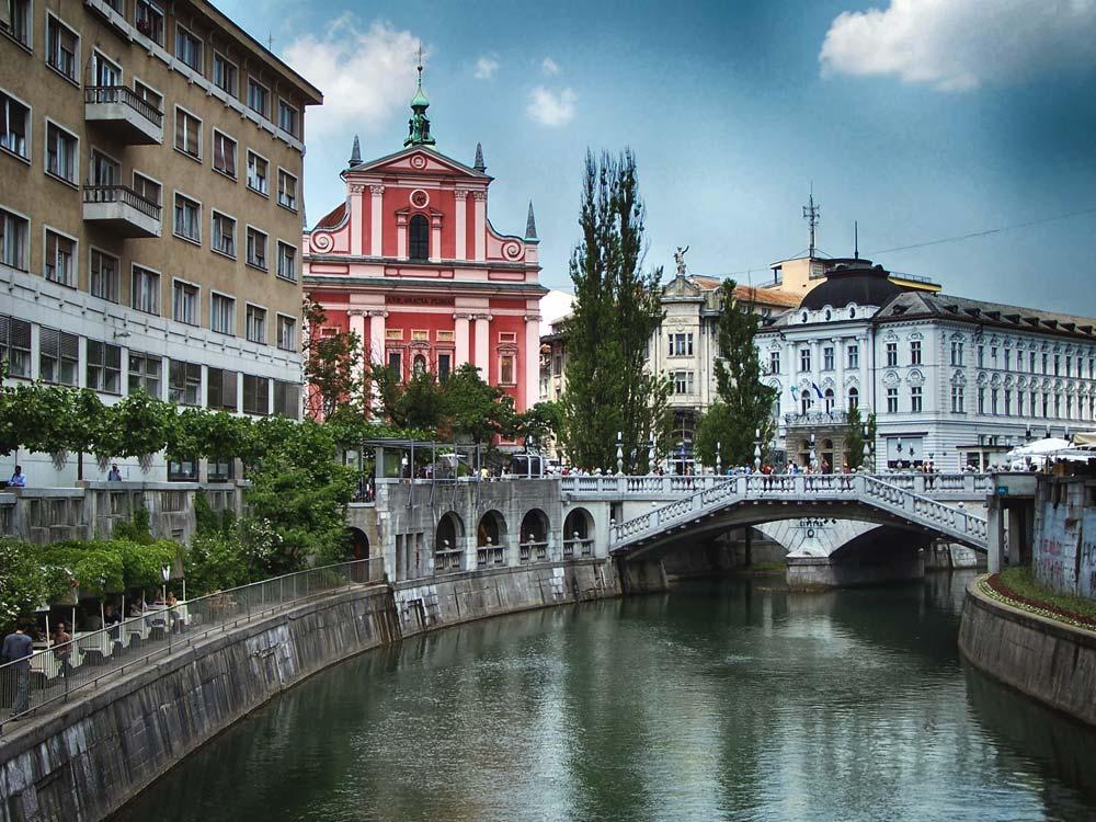 Triple Bridge in Old Town Ljubljana, Slovenia