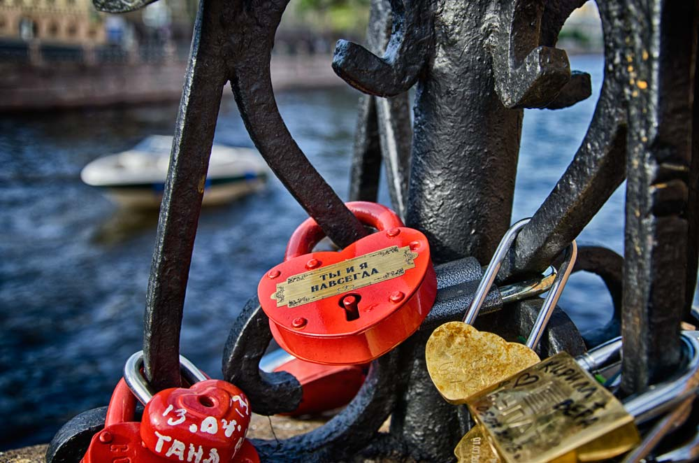Love Locks on the Moika River in St Petersburg, Russia