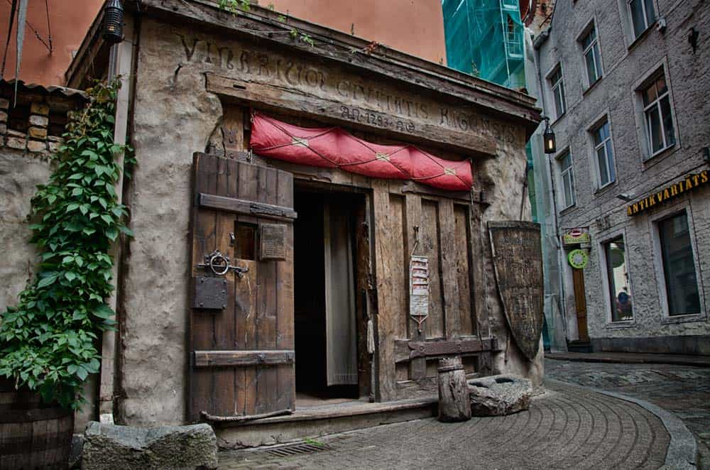 Medieval Wooden Restaurant in Old Town Riga, Latvia