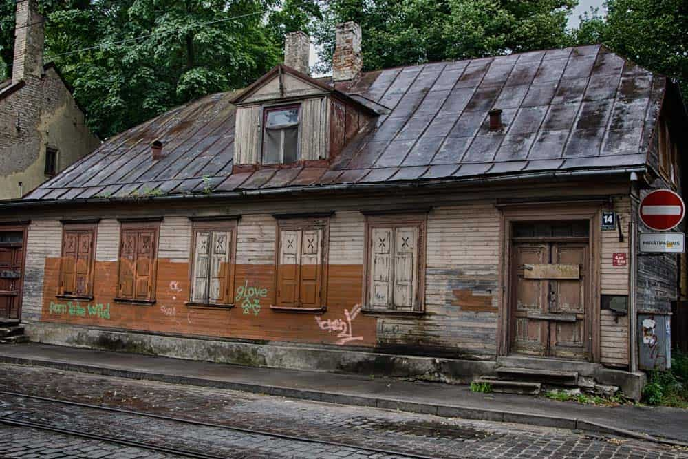 Old Wooden Architecture on Miera iela in Riga, Latvia