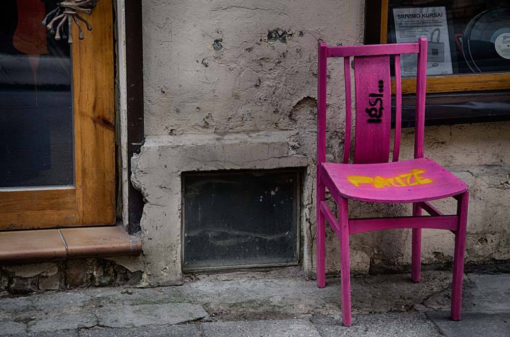 Bright Pink Chair in Užupis, Vilnius, Lithuania