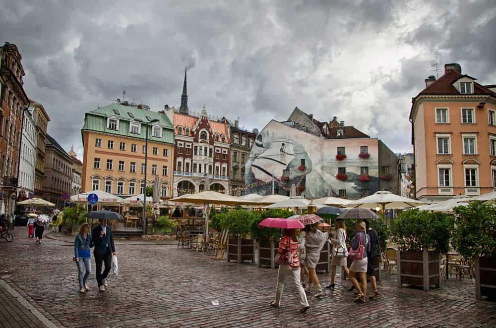Rainy Square in Riga, Latvia