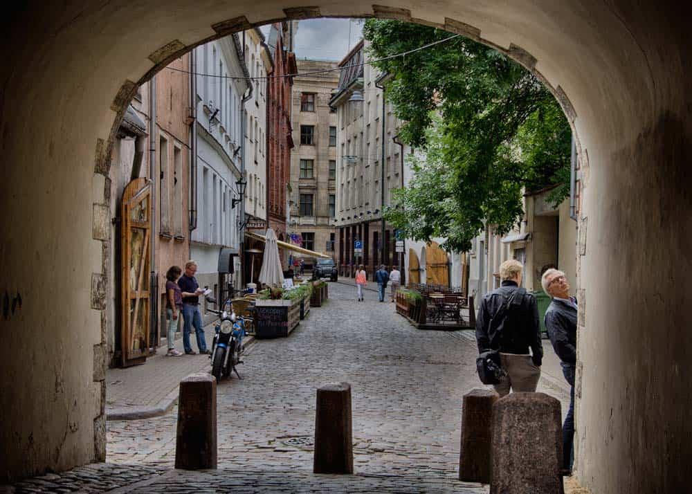 Swedish Gate in Old Town Riga, Latvia