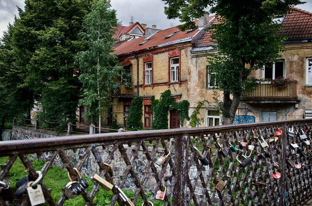 Lock Bridge over the Vilnia River in Užupis, Vilnius, Lithuania