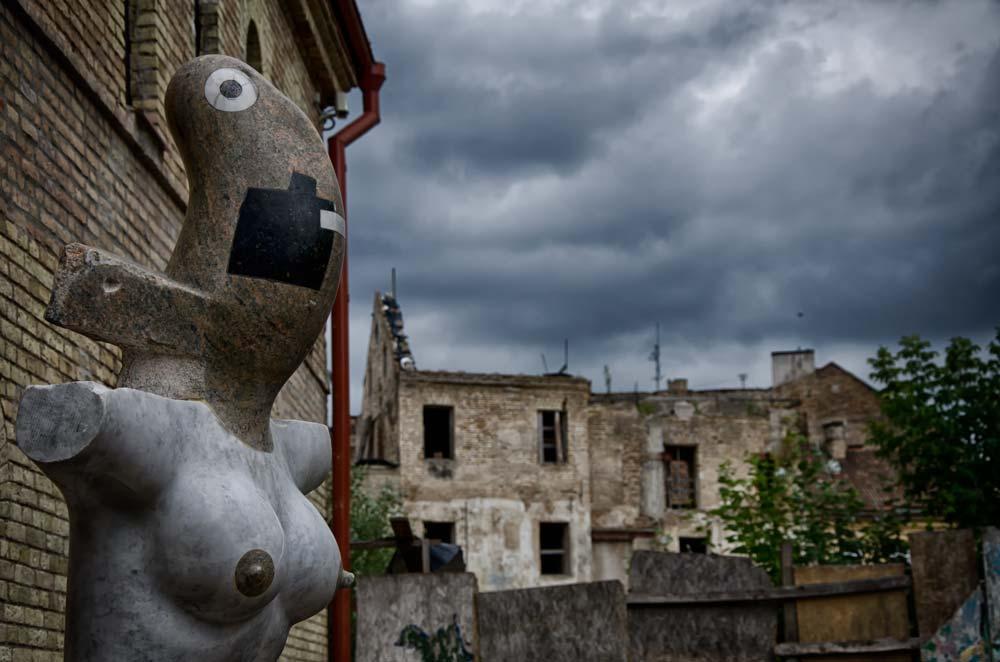 Weird Sculpture in Užupis, Vilnius, Lithuania