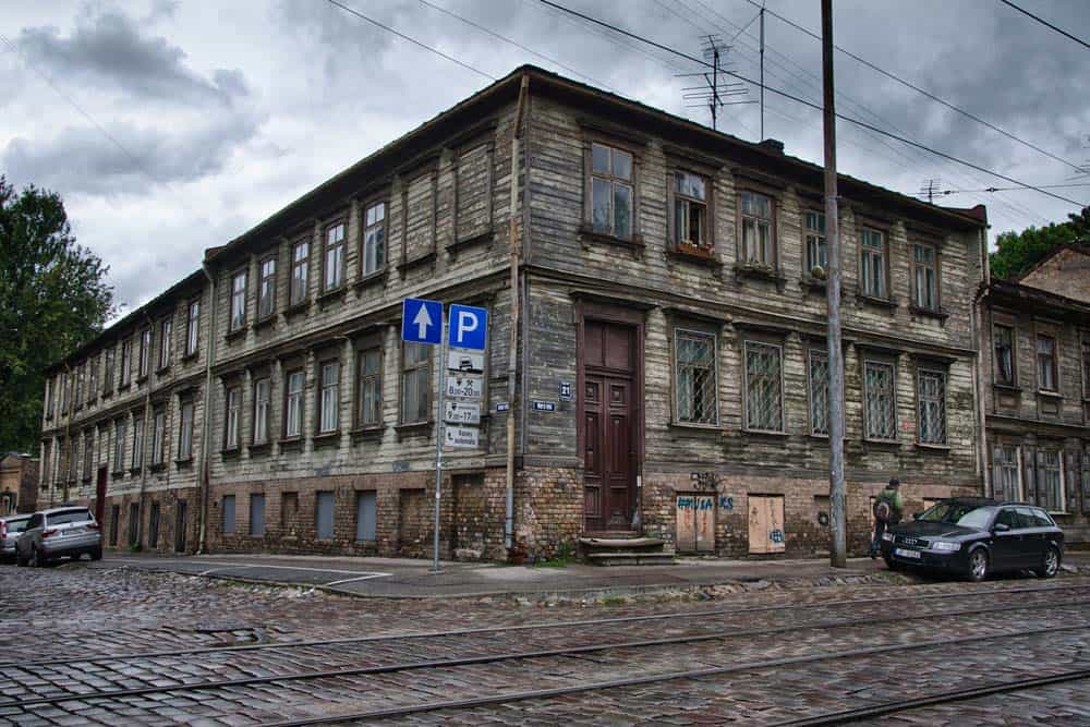 Wooden Building on Miera iela in Riga, Latvia